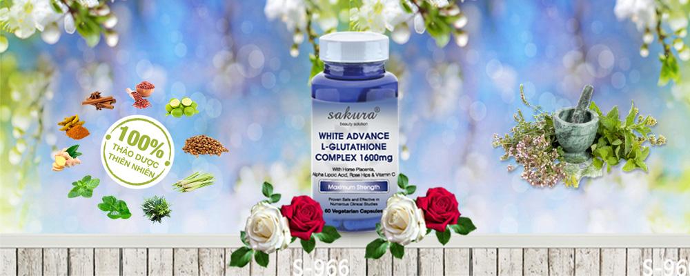 Viên uống trắng da chống lão hoá Sakura White Advance L-Glutathione Complex 1600mg