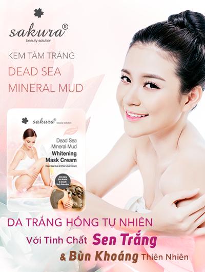 Kem tắm trắng bùn khoáng thiên nhiên và tinh chất sen trắng SAKURA DEAD SEA MINERAL MUD WHITENING MASK CREAM