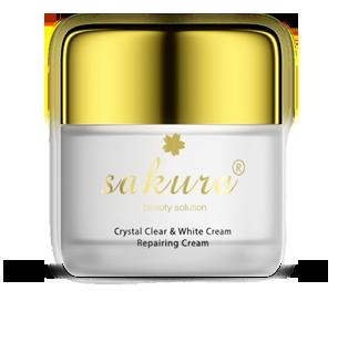 Kem dưỡng trắng phục hồi da ban đêm Sakura Crystal Clear & White - Repairing Cream