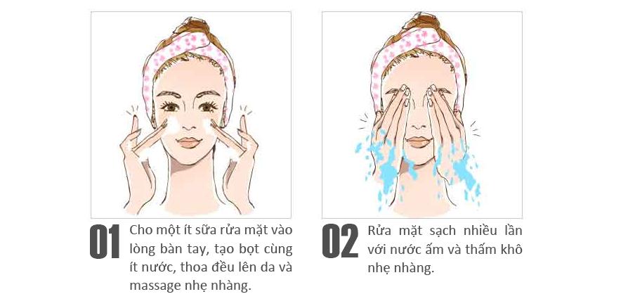 Kết quả hình ảnh cho hướng dẫn dùng sữa rửa mặt